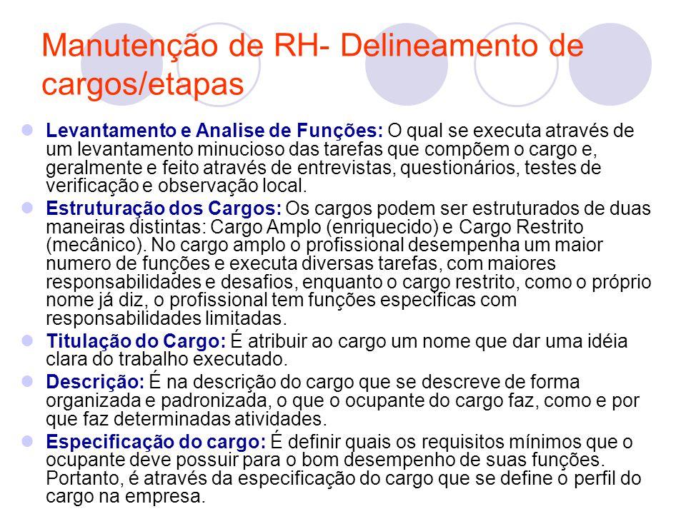 Manutenção de RH- Delineamento de cargos/etapas