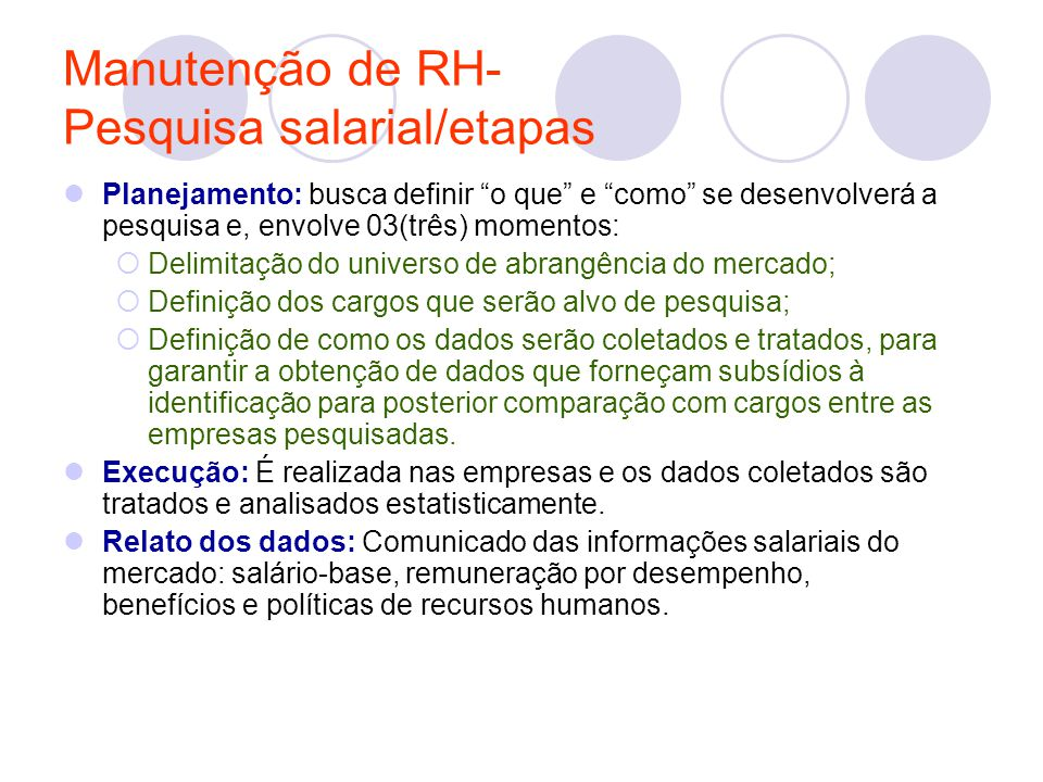 Manutenção de RH- Pesquisa salarial/etapas