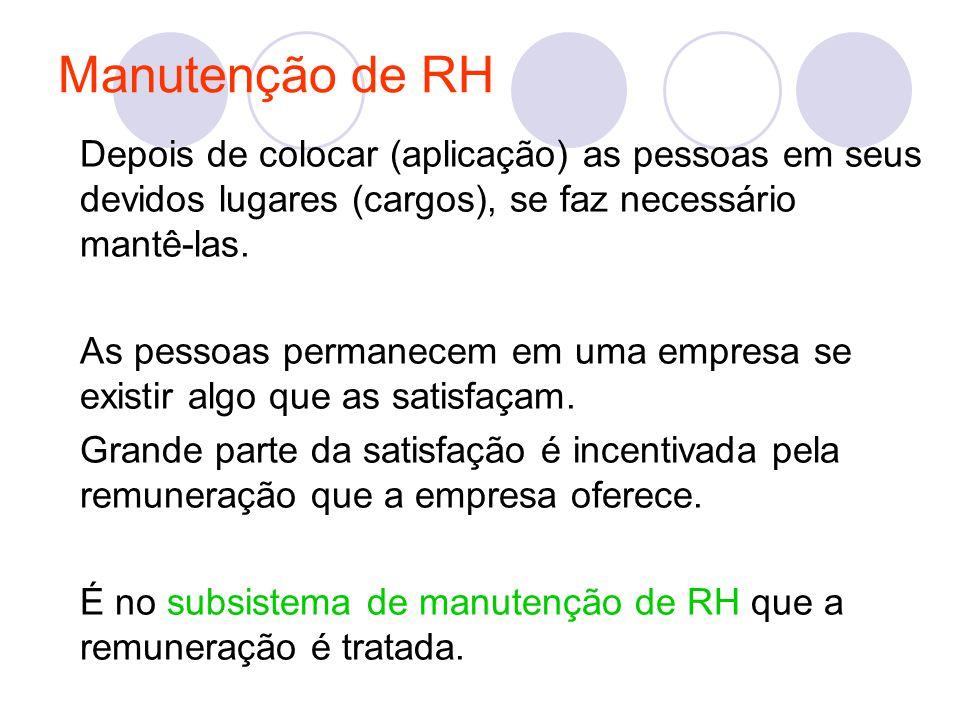 Manutenção de RH Depois de colocar (aplicação) as pessoas em seus devidos lugares (cargos), se faz necessário mantê-las.