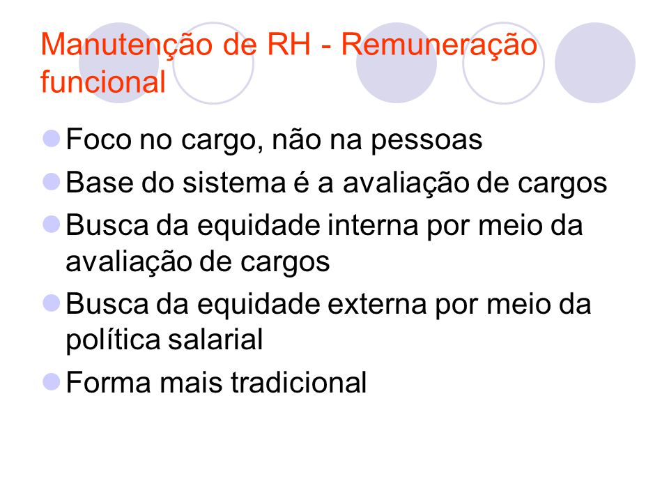 Manutenção de RH - Remuneração funcional
