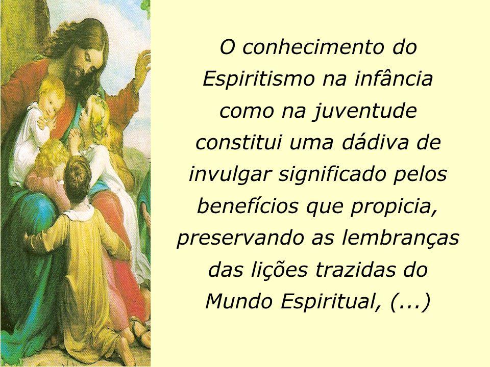 O conhecimento do Espiritismo na infância como na juventude constitui uma dádiva de invulgar significado pelos benefícios que propicia, preservando as lembranças das lições trazidas do Mundo Espiritual, (...)