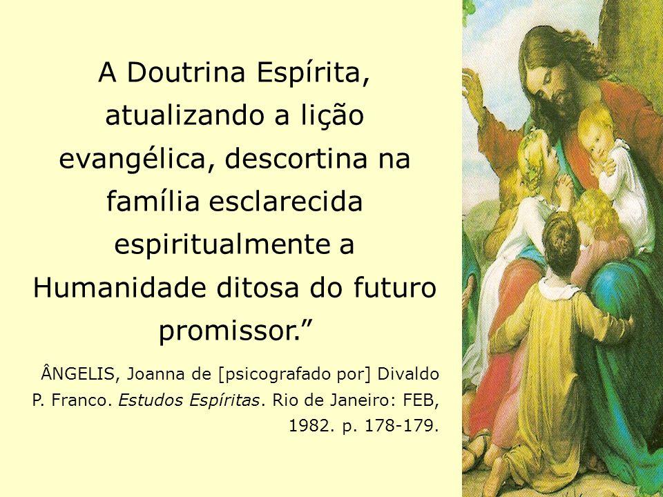 A Doutrina Espírita, atualizando a lição evangélica, descortina na família esclarecida espiritualmente a Humanidade ditosa do futuro promissor.