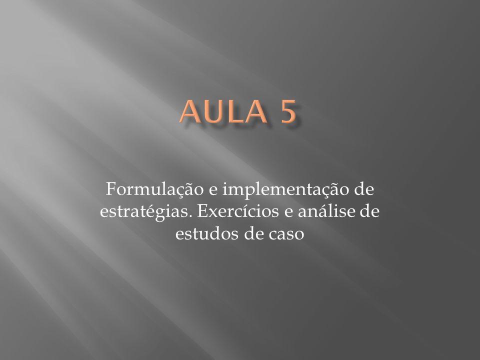 Aula 5 Formulação e implementação de estratégias. Exercícios e análise de estudos de caso