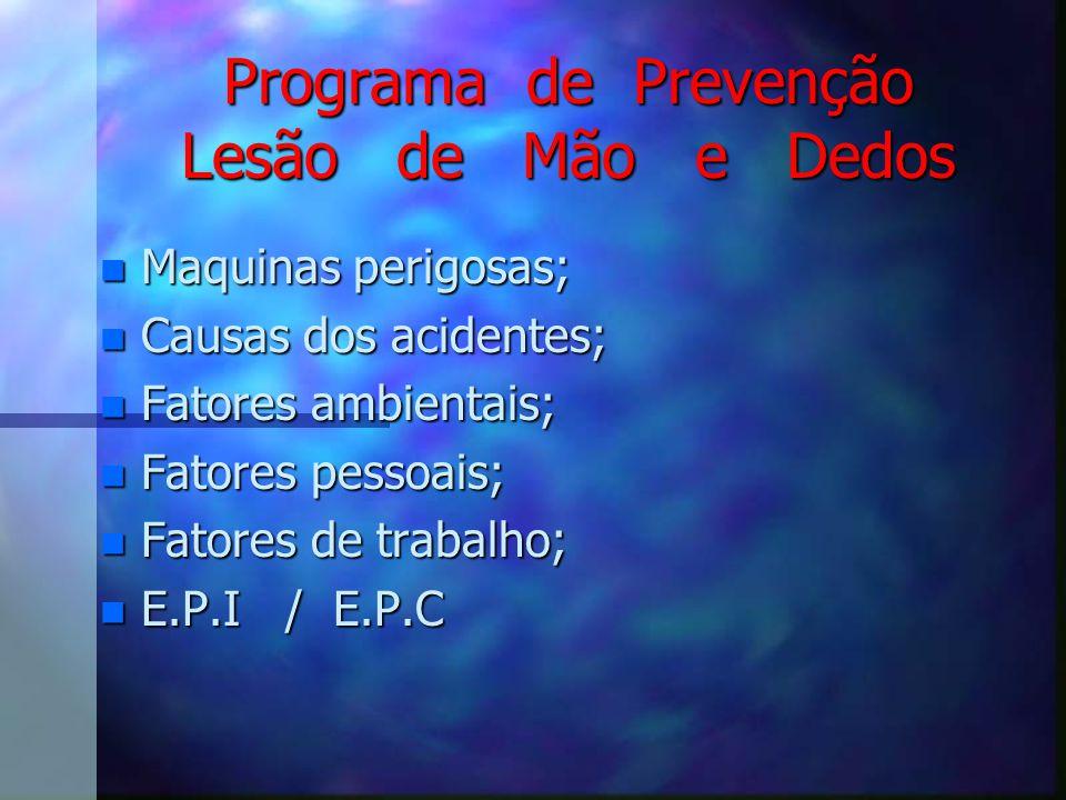 Programa de Prevenção Lesão de Mão e Dedos
