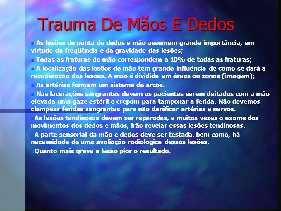 Trauma De Mãos E Dedos As lesões de ponta de dedos e mão assumem grande importância, em virtude da freqüência e da gravidade das lesões;