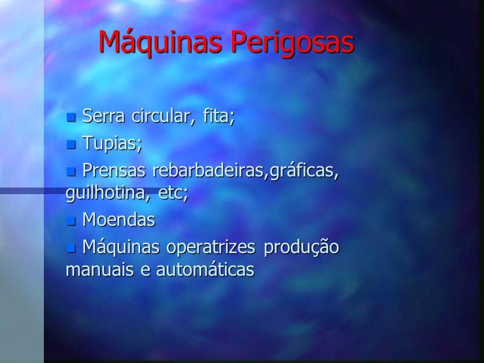 Máquinas Perigosas Serra circular, fita; Tupias;