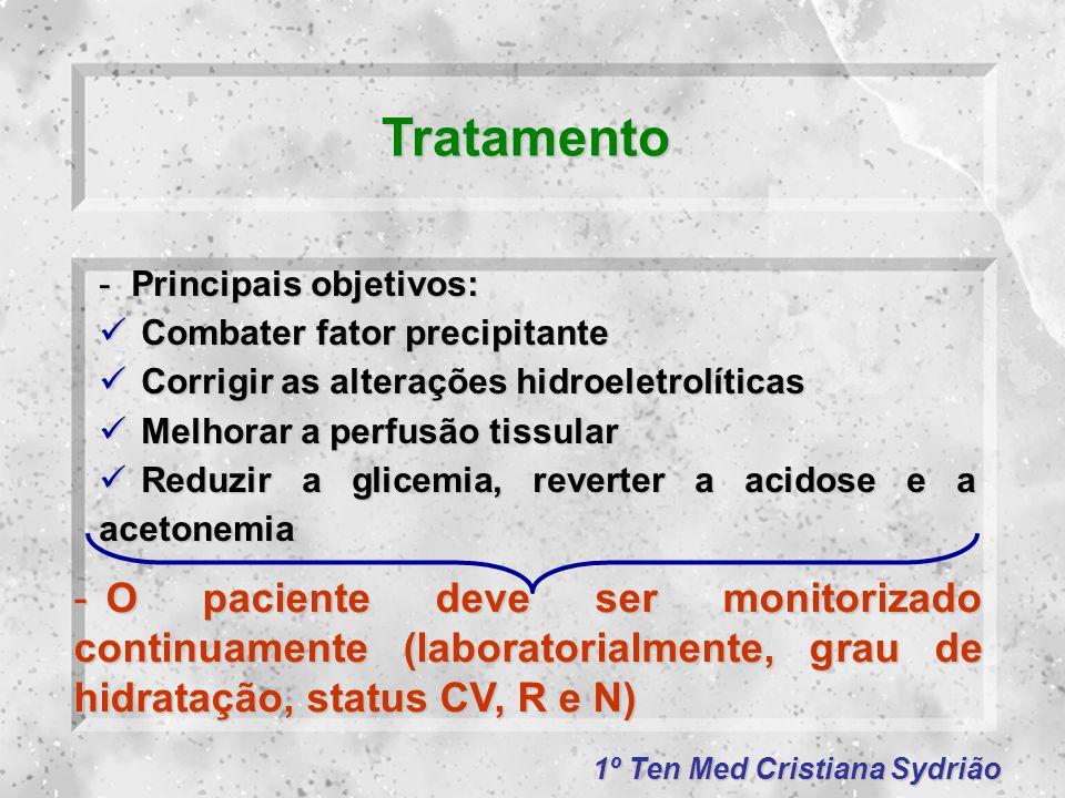 Tratamento Principais objetivos: Combater fator precipitante. Corrigir as alterações hidroeletrolíticas.