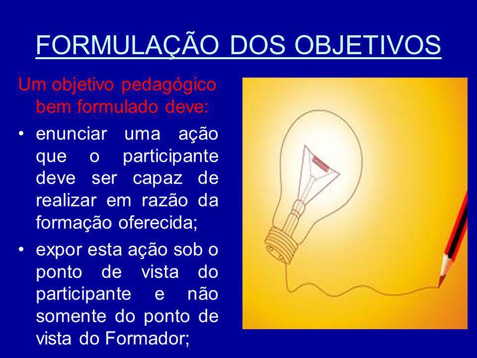 FORMULAÇÃO DOS OBJETIVOS