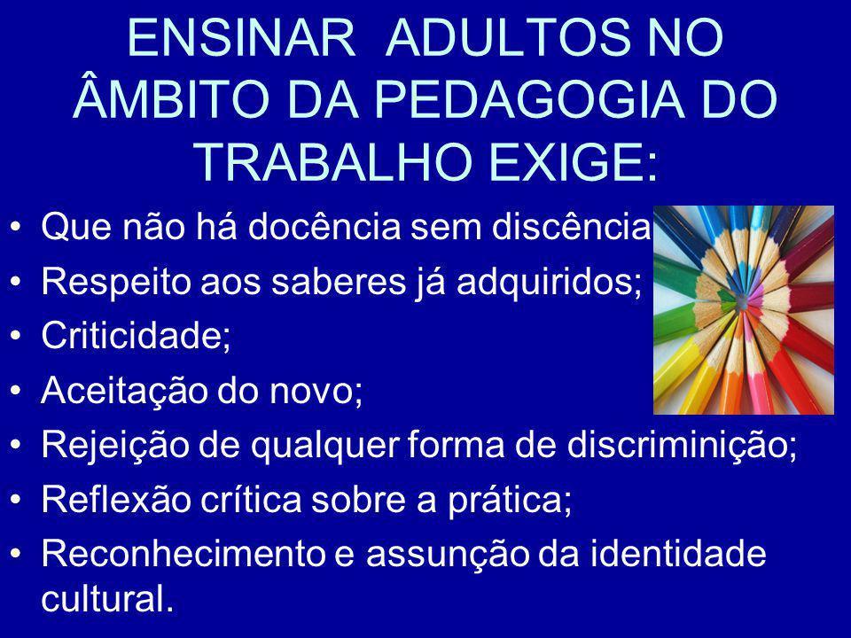 ENSINAR ADULTOS NO ÂMBITO DA PEDAGOGIA DO TRABALHO EXIGE: