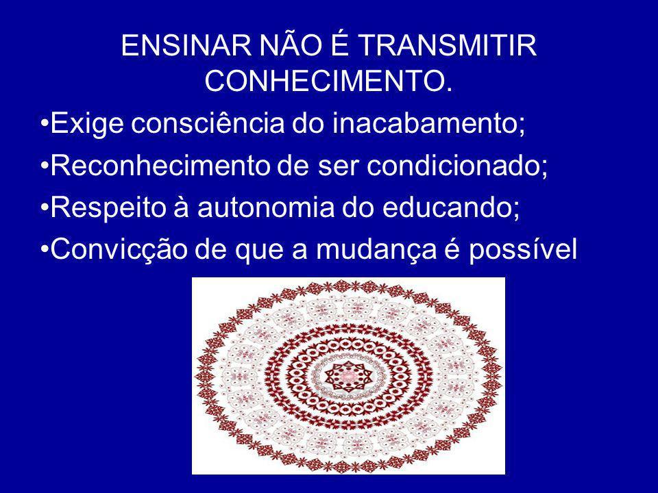 ENSINAR NÃO É TRANSMITIR CONHECIMENTO.