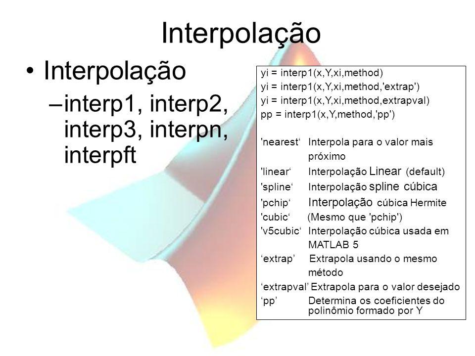 Interpolação Interpolação interp1, interp2, interp3, interpn, interpft
