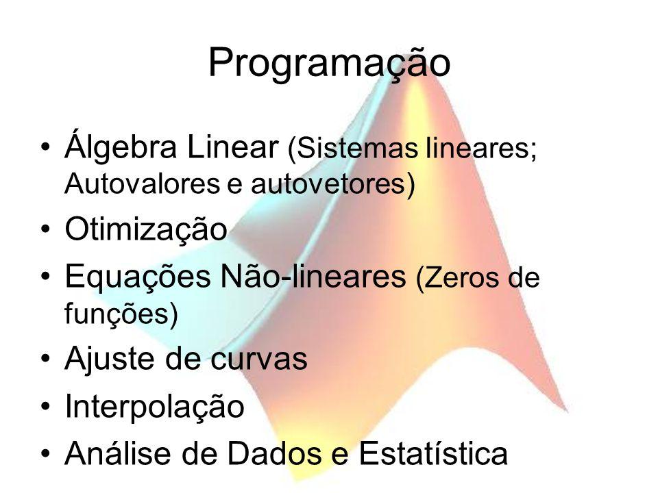 Programação Álgebra Linear (Sistemas lineares; Autovalores e autovetores) Otimização. Equações Não-lineares (Zeros de funções)