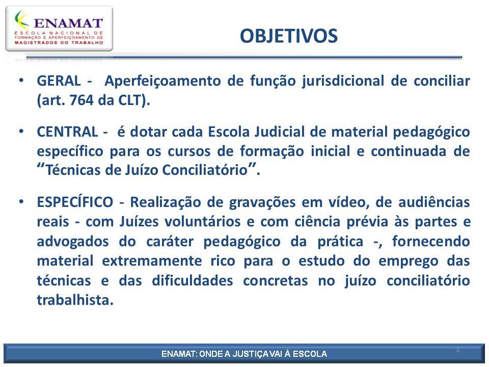OBJETIVOS GERAL - Aperfeiçoamento de função jurisdicional de conciliar (art. 764 da CLT).