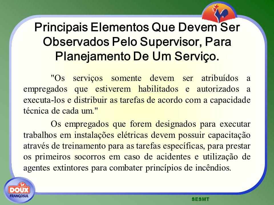 Principais Elementos Que Devem Ser Observados Pelo Supervisor, Para Planejamento De Um Serviço.