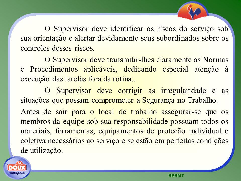 O Supervisor deve identificar os riscos do serviço sob sua orientação e alertar devidamente seus subordinados sobre os controles desses riscos.