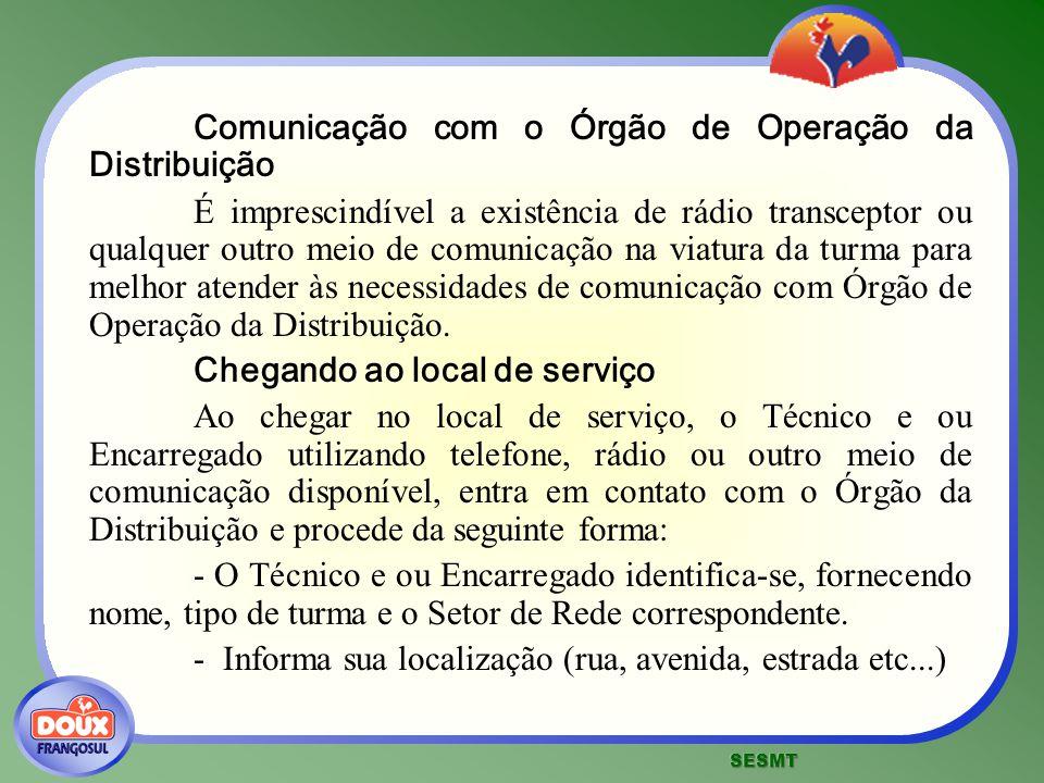 Comunicação com o Órgão de Operação da Distribuição