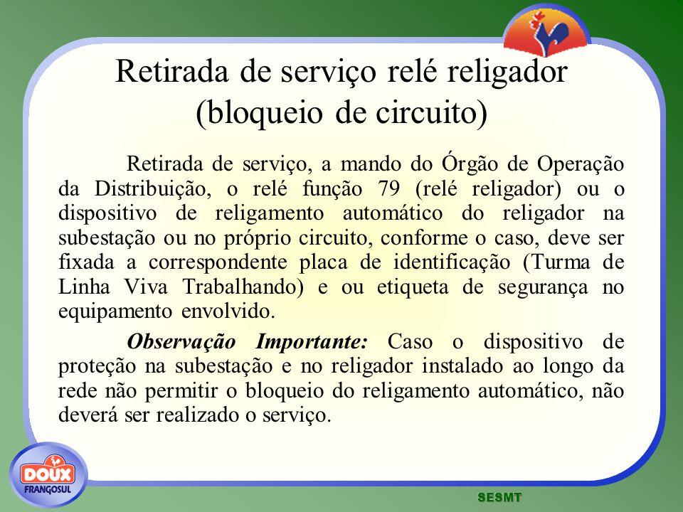 Retirada de serviço relé religador (bloqueio de circuito)