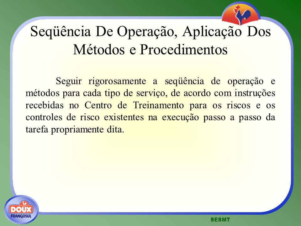Seqüência De Operação, Aplicação Dos Métodos e Procedimentos