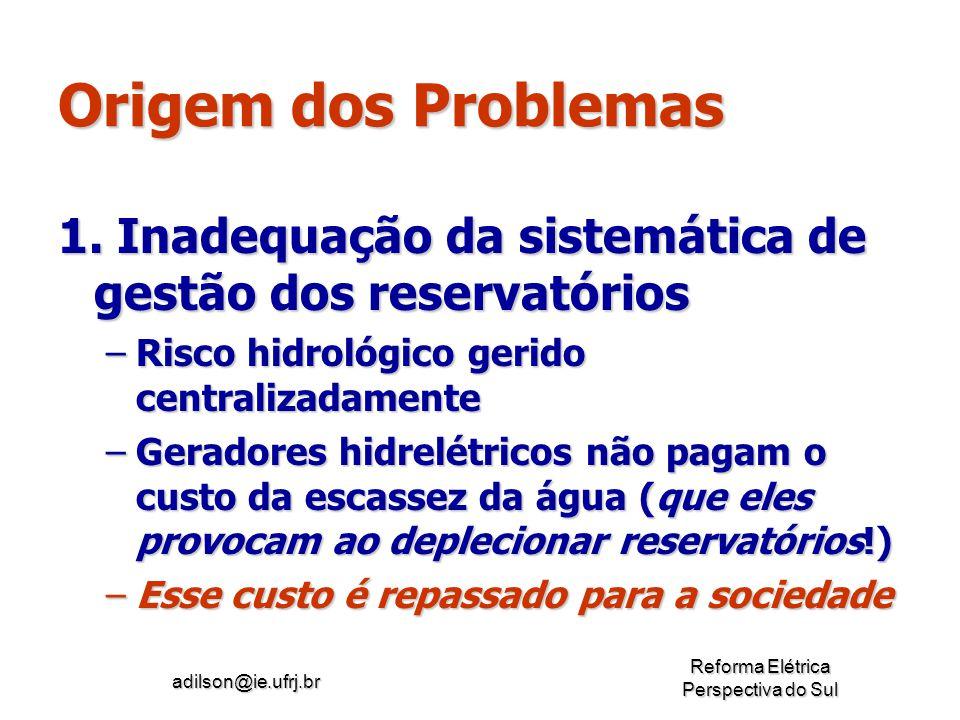 Origem dos Problemas 1. Inadequação da sistemática de gestão dos reservatórios. Risco hidrológico gerido centralizadamente.