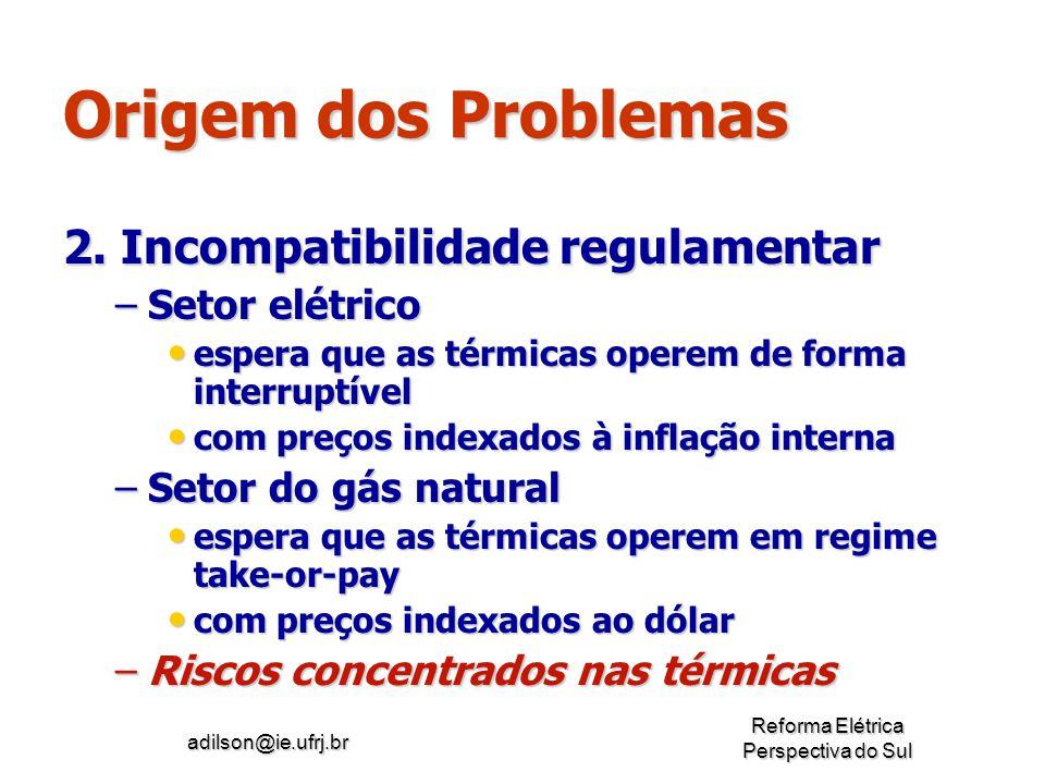 Origem dos Problemas 2. Incompatibilidade regulamentar Setor elétrico