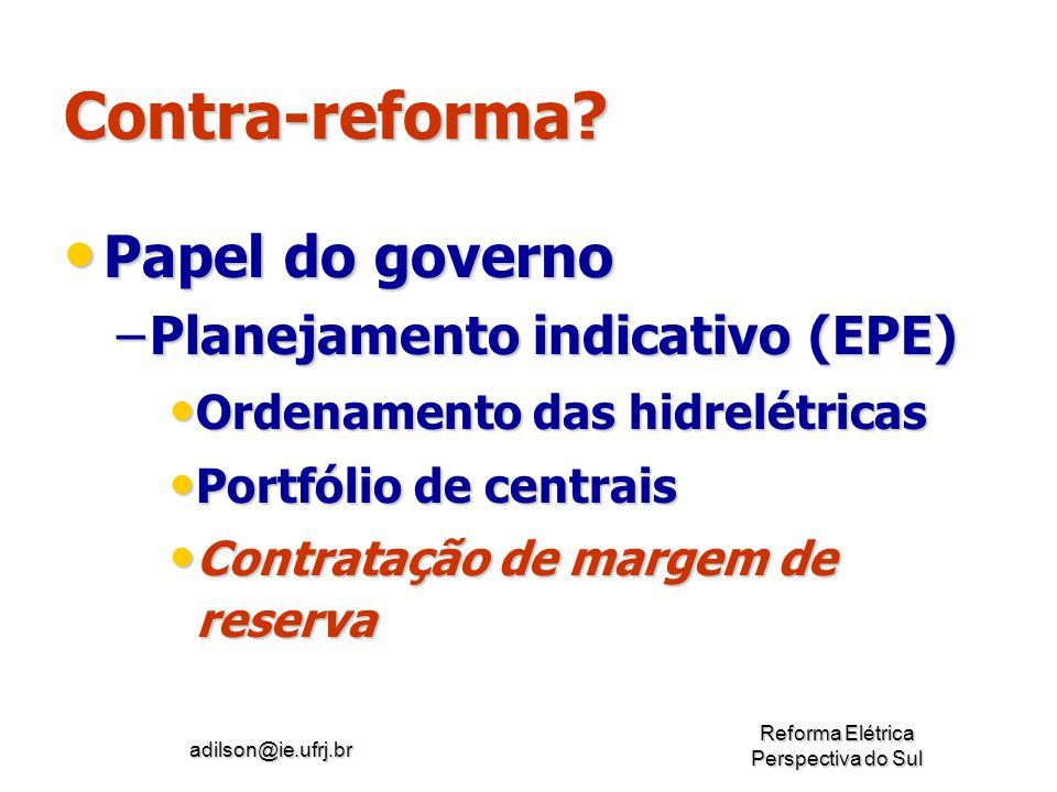 Contra-reforma Papel do governo Planejamento indicativo (EPE)