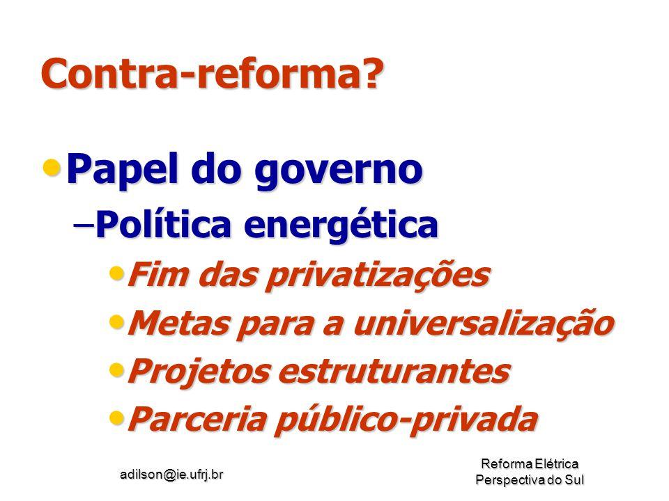 Contra-reforma Papel do governo Política energética