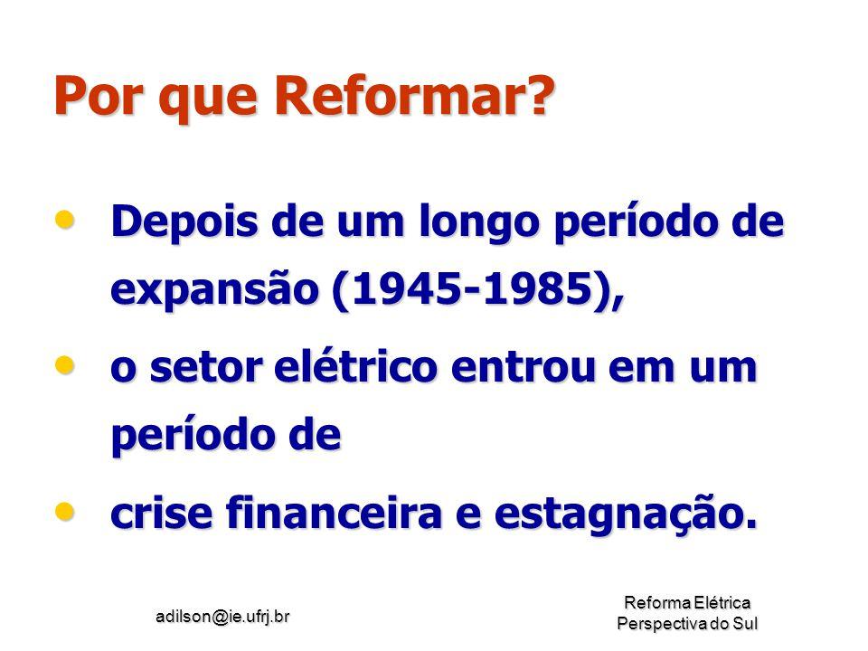 Por que Reformar Depois de um longo período de expansão (1945-1985),