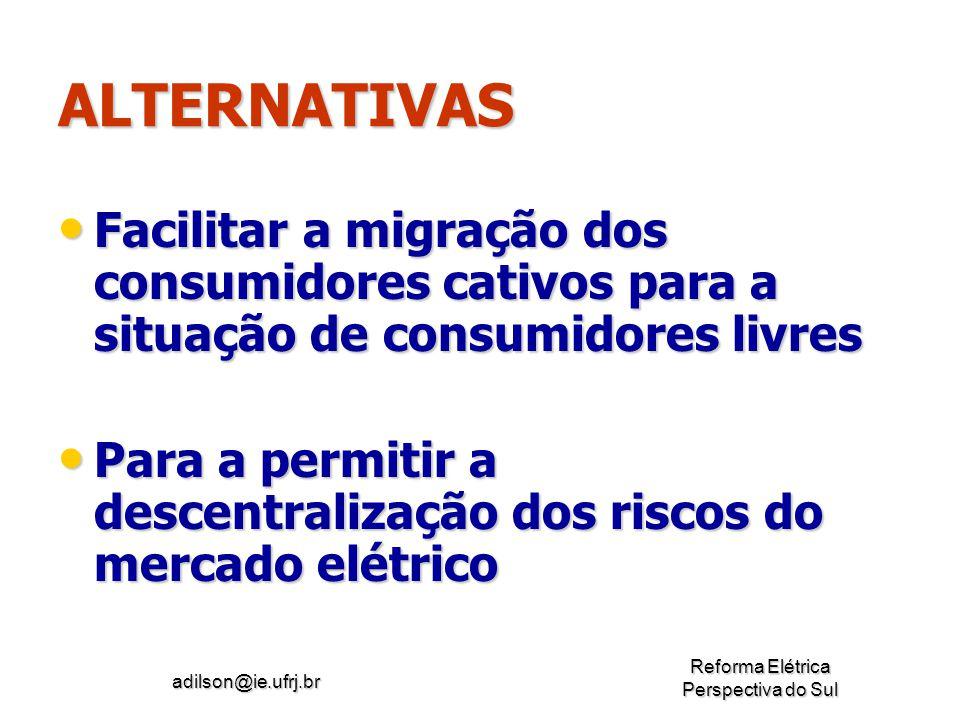 ALTERNATIVAS Facilitar a migração dos consumidores cativos para a situação de consumidores livres.