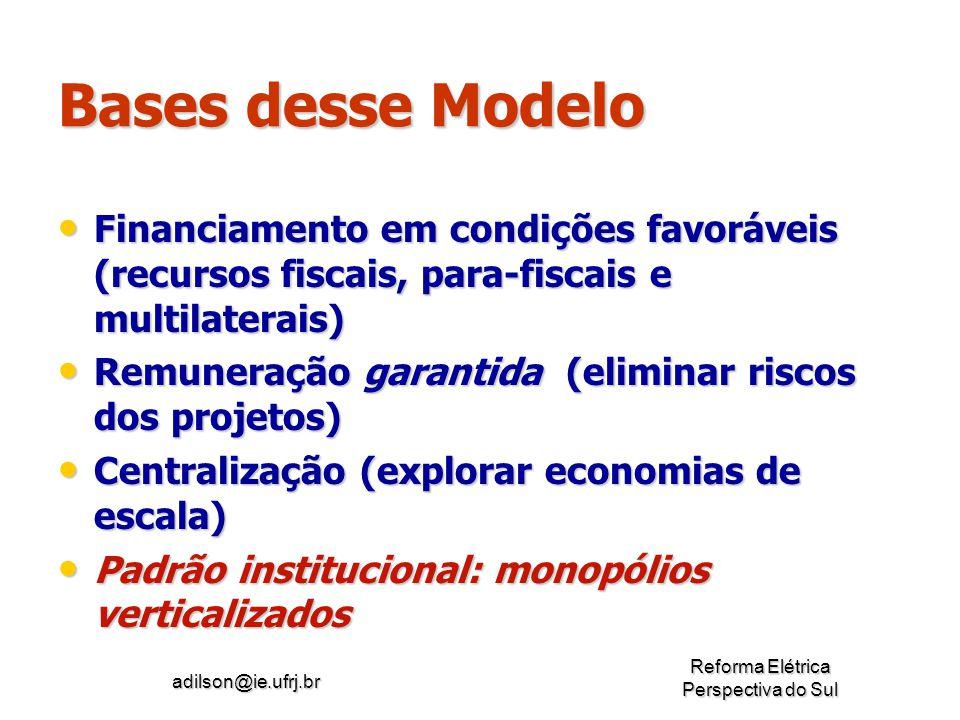 Bases desse Modelo Financiamento em condições favoráveis (recursos fiscais, para-fiscais e multilaterais)