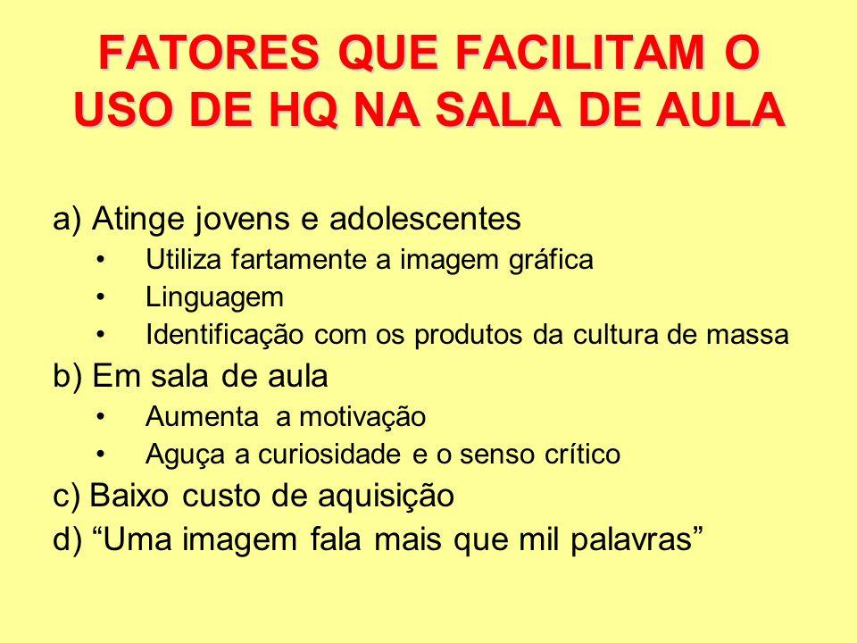 FATORES QUE FACILITAM O USO DE HQ NA SALA DE AULA
