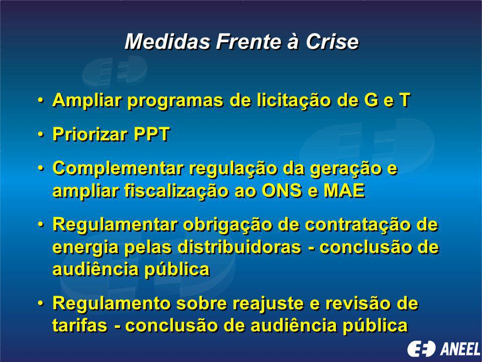 Medidas Frente à Crise Ampliar programas de licitação de G e T