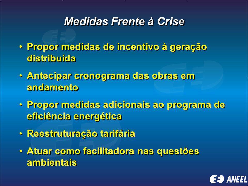 Medidas Frente à Crise Propor medidas de incentivo à geração distribuída. Antecipar cronograma das obras em andamento.