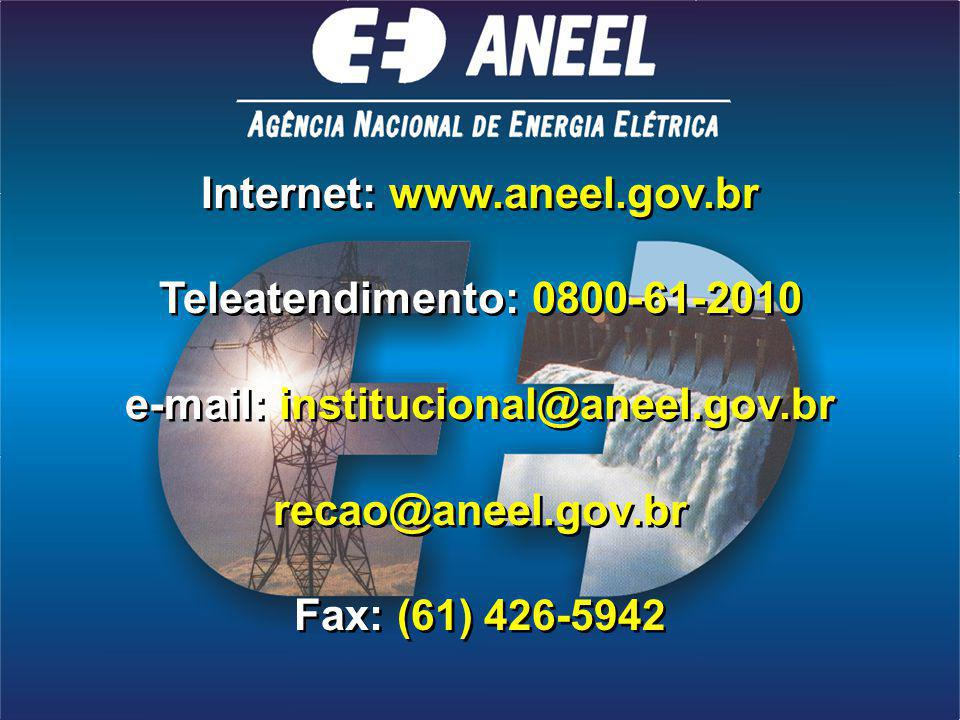 Internet: www.aneel.gov.br e-mail: institucional@aneel.gov.br