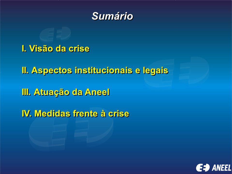 Sumário I. Visão da crise II. Aspectos institucionais e legais