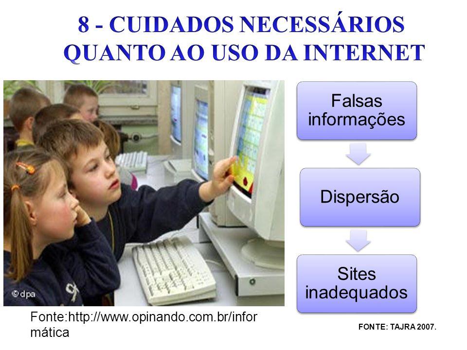 8 - CUIDADOS NECESSÁRIOS QUANTO AO USO DA INTERNET