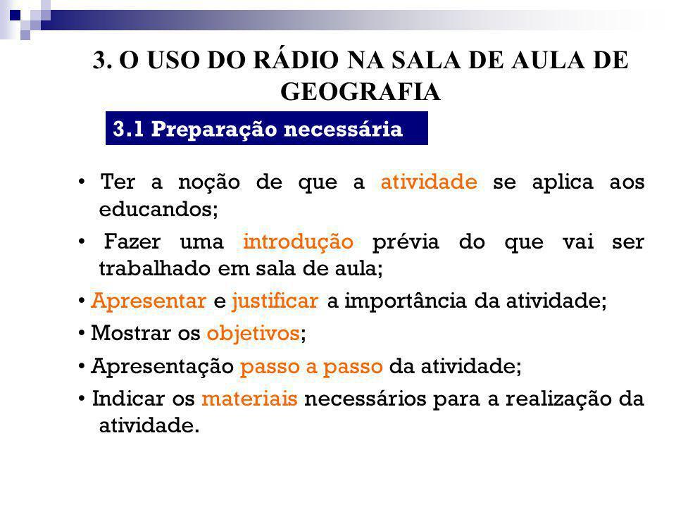 3. O USO DO RÁDIO NA SALA DE AULA DE GEOGRAFIA