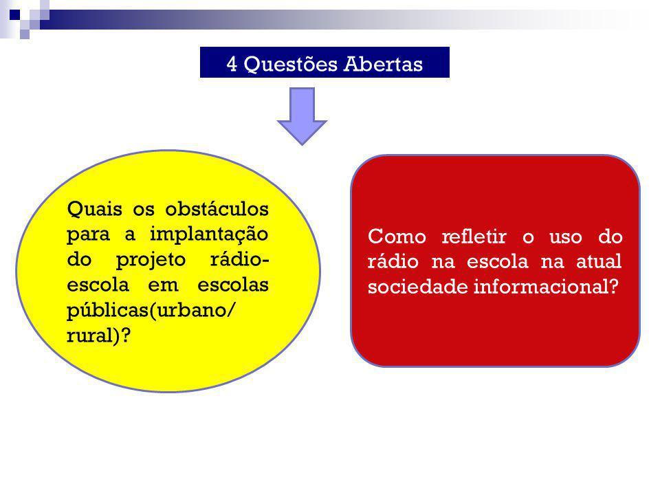 4 Questões Abertas Quais os obstáculos para a implantação do projeto rádio- escola em escolas públicas(urbano/ rural)
