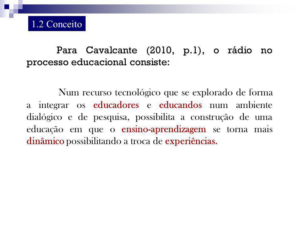 1.2 Conceito Para Cavalcante (2010, p.1), o rádio no processo educacional consiste: