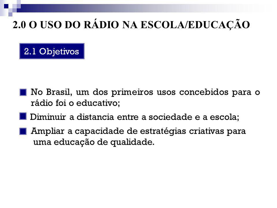 2.0 O USO DO RÁDIO NA ESCOLA/EDUCAÇÃO