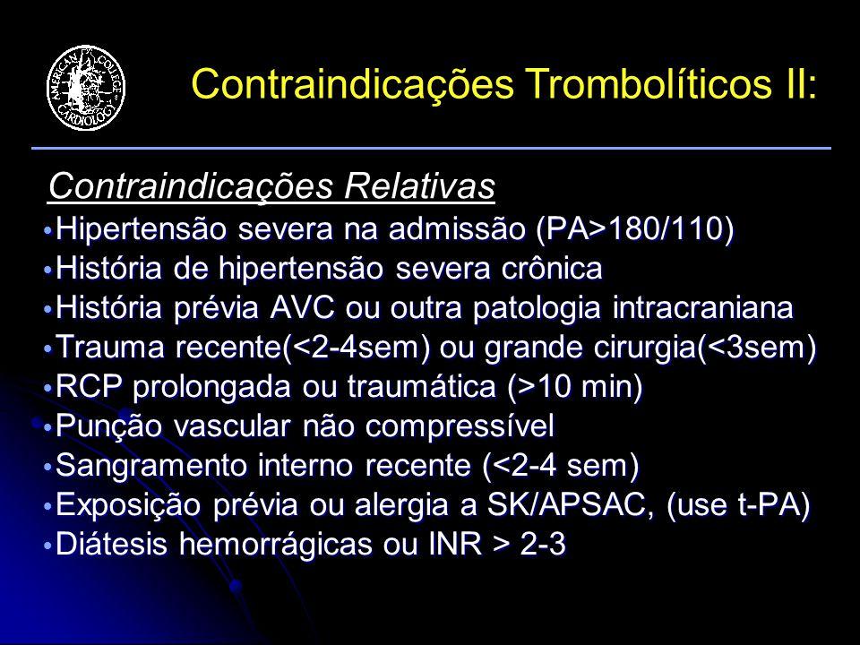 Contraindicações Trombolíticos II: