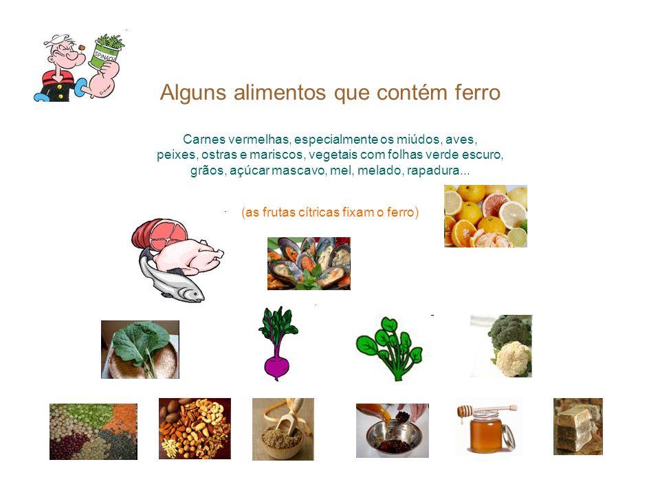 Alguns alimentos que contém ferro Carnes vermelhas, especialmente os miúdos, aves, peixes, ostras e mariscos, vegetais com folhas verde escuro, grãos, açúcar mascavo, mel, melado, rapadura...