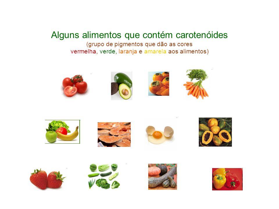 Alguns alimentos que contém carotenóides (grupo de pigmentos que dão as cores vermelha, verde, laranja e amarela aos alimentos)