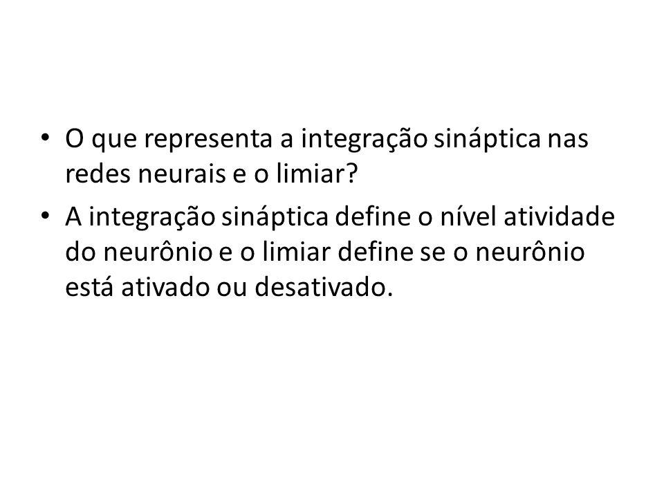O que representa a integração sináptica nas redes neurais e o limiar
