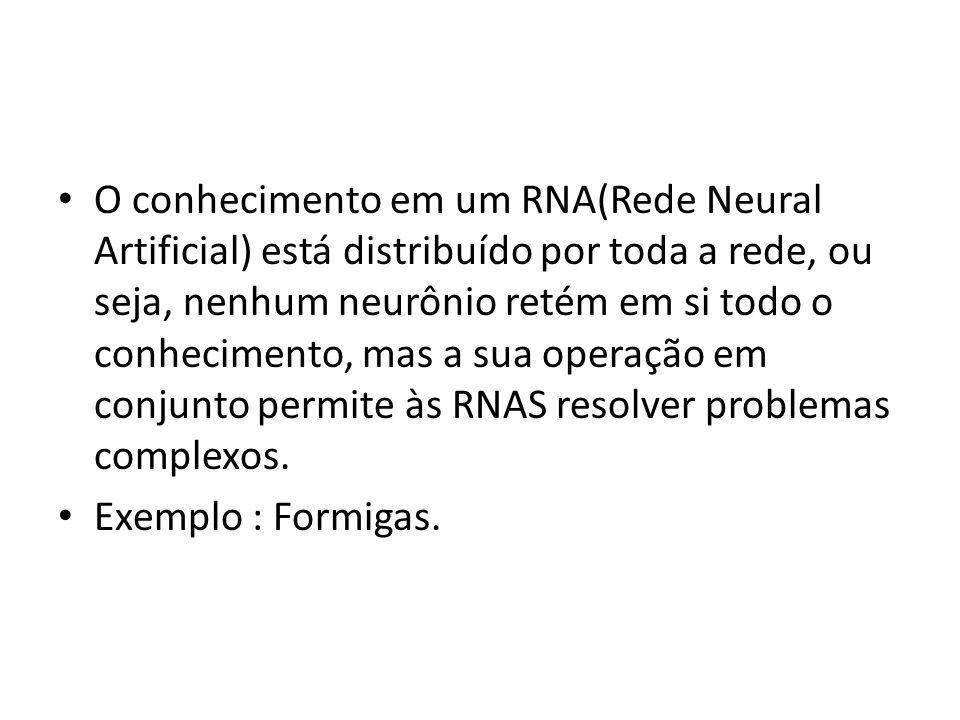 O conhecimento em um RNA(Rede Neural Artificial) está distribuído por toda a rede, ou seja, nenhum neurônio retém em si todo o conhecimento, mas a sua operação em conjunto permite às RNAS resolver problemas complexos.