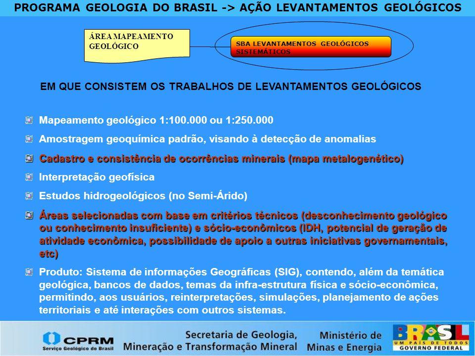 PROGRAMA GEOLOGIA DO BRASIL -> AÇÃO LEVANTAMENTOS GEOLÓGICOS