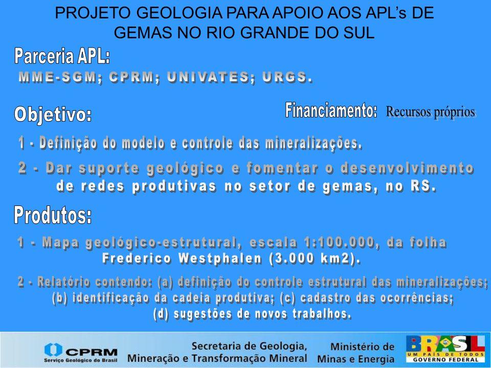 PROJETO GEOLOGIA PARA APOIO AOS APL's DE GEMAS NO RIO GRANDE DO SUL