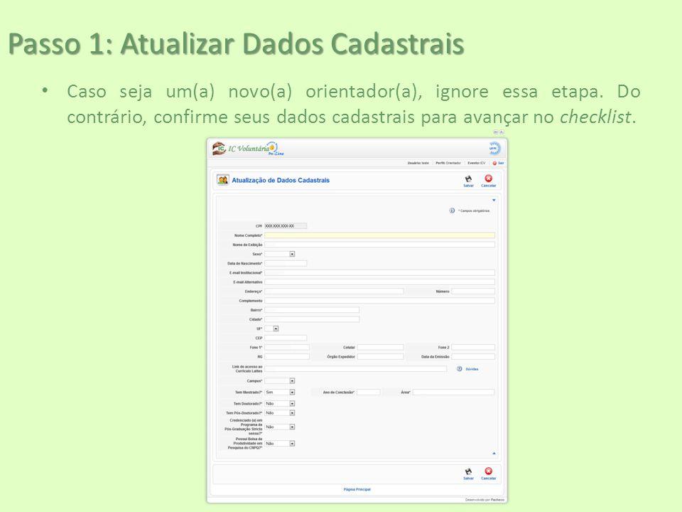 Passo 1: Atualizar Dados Cadastrais