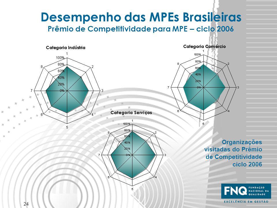 Desempenho das MPEs Brasileiras Prêmio de Competitividade para MPE – ciclo 2006