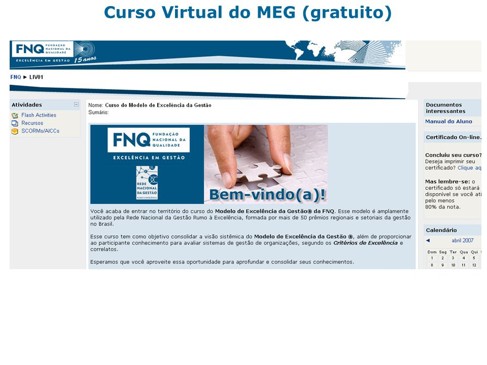 Curso Virtual do MEG (gratuito)