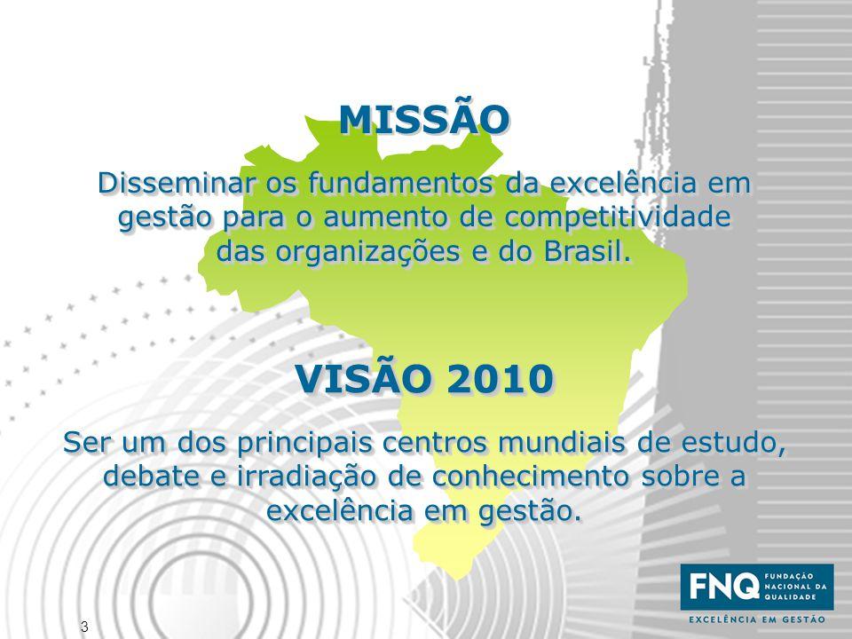MISSÃO Disseminar os fundamentos da excelência em gestão para o aumento de competitividade das organizações e do Brasil.
